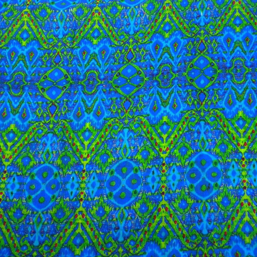 Blue Psychedelic Cotton Scarf - Asha Handicrafts (Fair Trade)