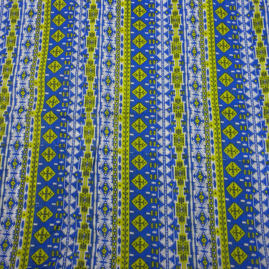 Blue and Green Glyph Cotton Scarf - Asha Handicrafts (Fair Trade)