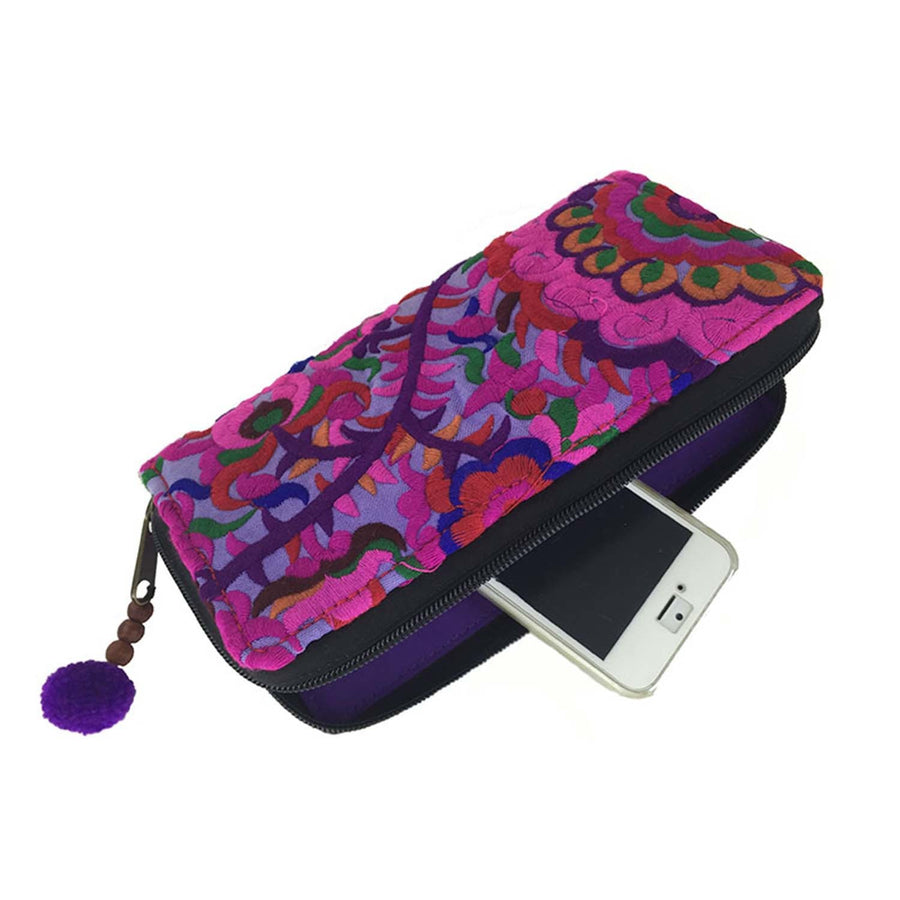 Blossom Zippered Wallet - Purple - Global Groove (Fair Trade)