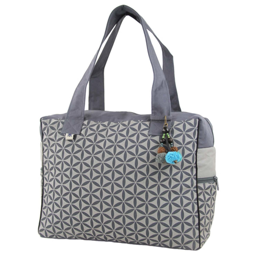 Flower of Life Retreat Bag Grey/Grey - Global Groove (Fair Trade)