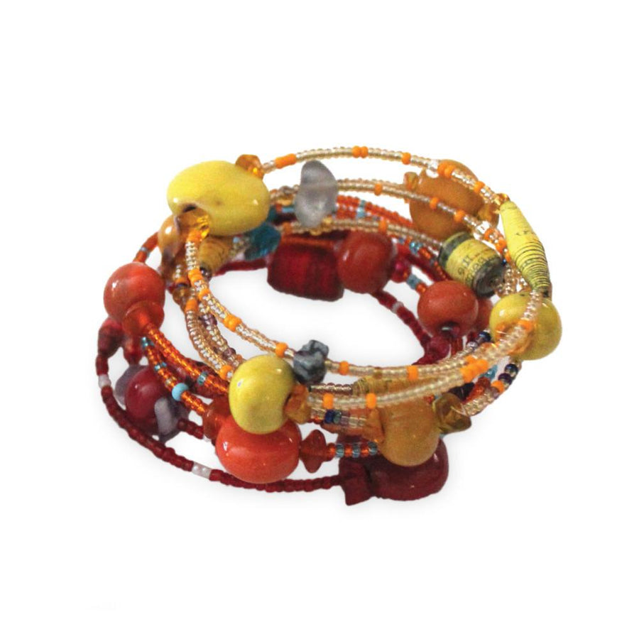 Funky Spiral Bracelet Fire - Imani Workshop (Fair Trade)