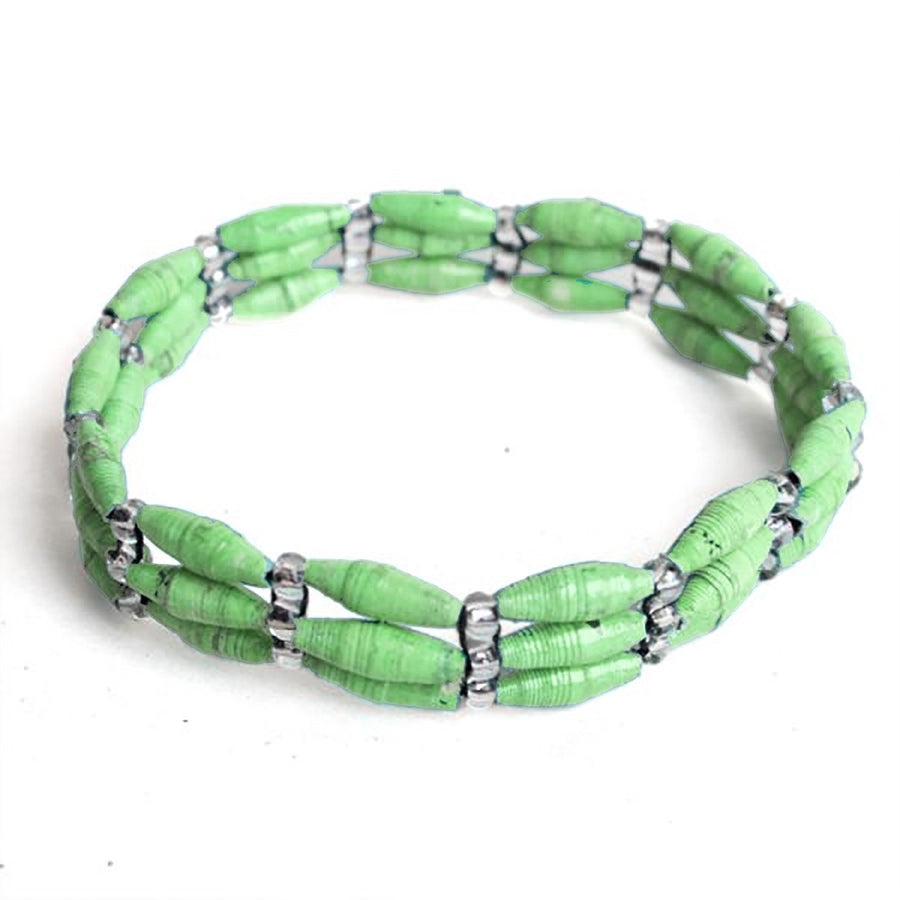 3 Strand Magazine Bead Bracelet Seafoam - Imani Workshop (Fair Trade)