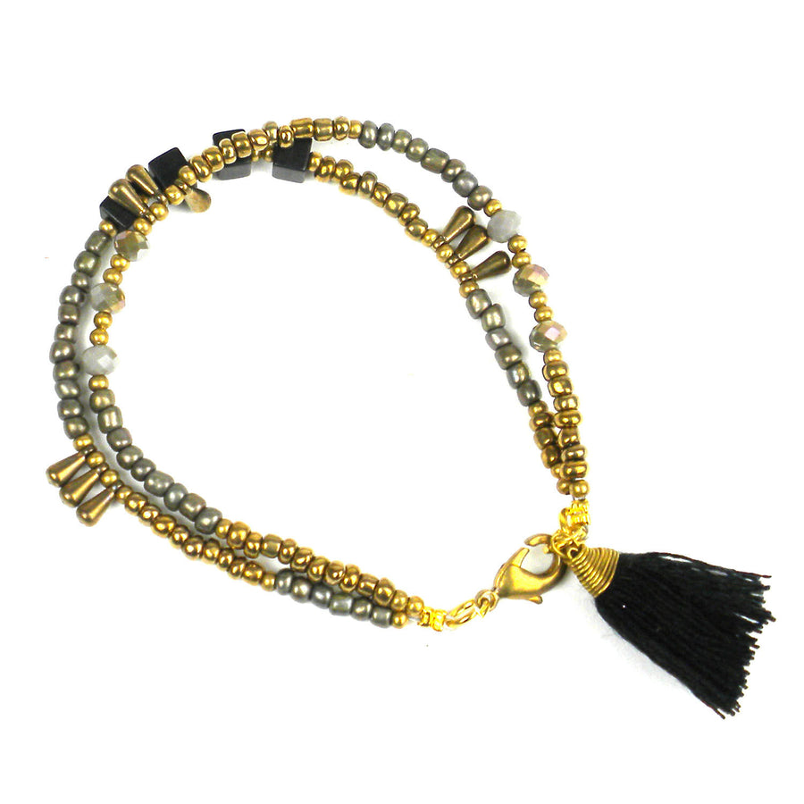 Kerala Tassel Bracelet Raven - Global Groove (Fair Trade)