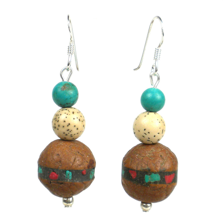 Tibetan Turquoise and Lotus Seed Earrings - Global Groove (Fair Trade)