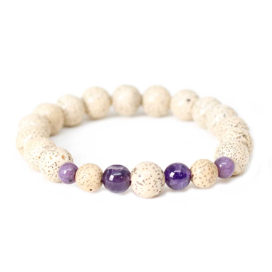 Lotus Seed & Amethyst Wrist Mala Bracelet - Global Groove (Fair Trade)