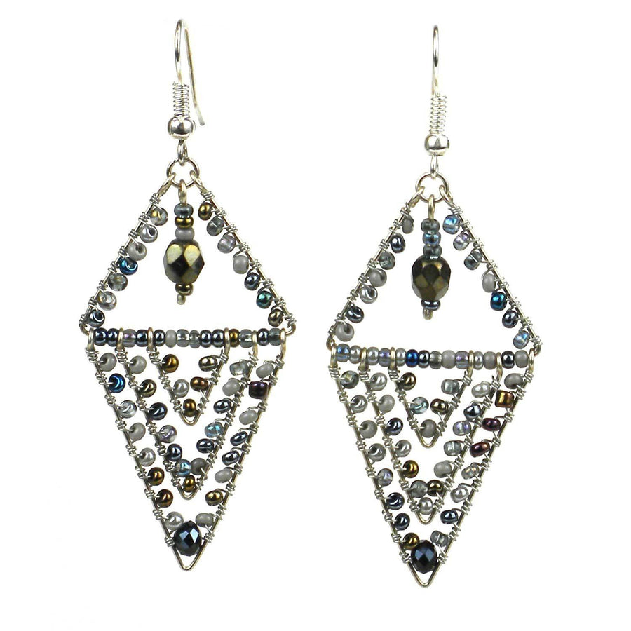 Pyramid Earrings - Grays - Lucias Imports (Fair Trade)