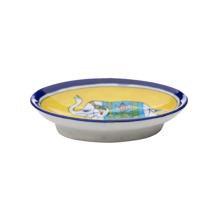 Blue Pottery Elephant Soap Dish - Yellow - Matr Boomie (Fair Trade)