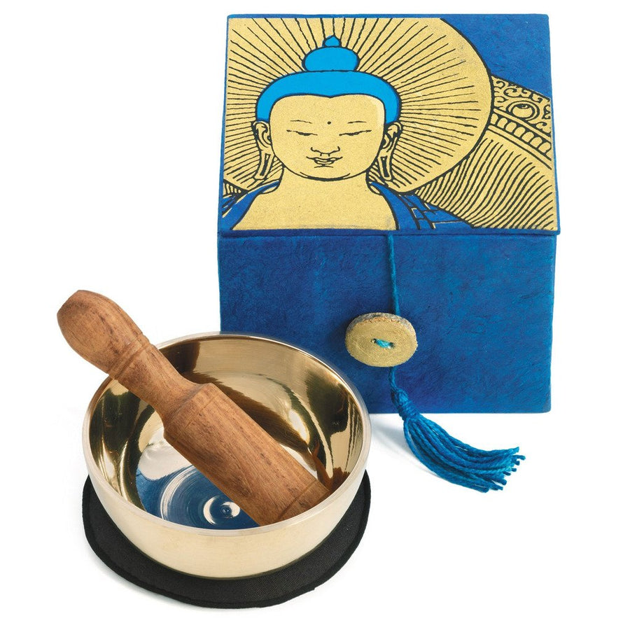 Meditation Bowl Box: 3'' Buddha - DZI (Fair Trade)