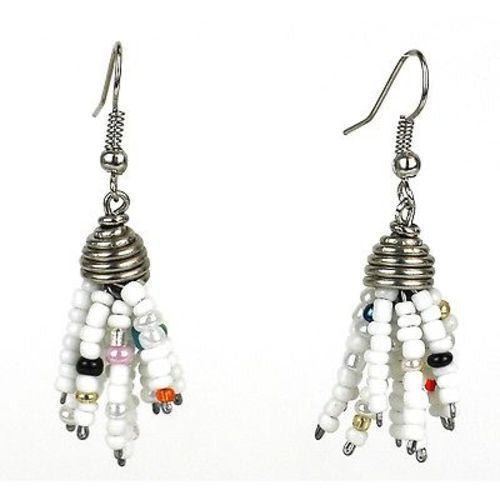 White Maasai Beaded Spike Earrings Handmade and Fair Trade