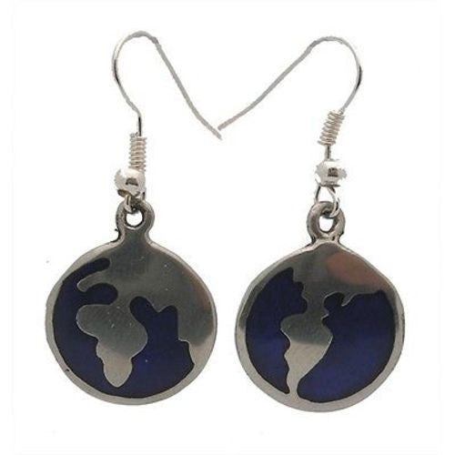Alpaca Silver Blue Inlaid Earth Earrings Handmade and Fair Trade