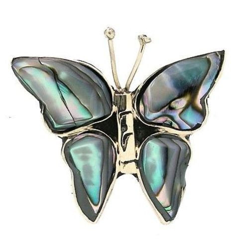 Alpaca Silver Abalone Butterfly Pin Handmade and Fair Trade