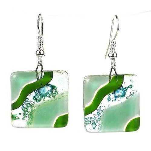 Emerald Isle Fused Glass Earrings Handmade and Fair Trade
