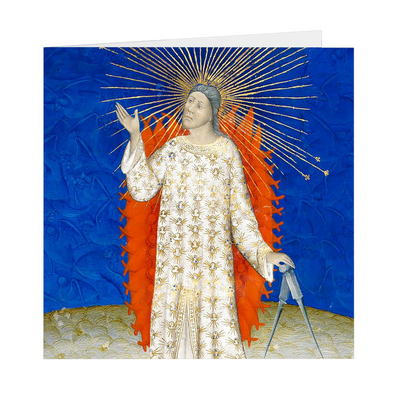 "The Creator of the Cosmos Medieval Illumination - 5"" X 5"" Blank Greeting and Note Card"