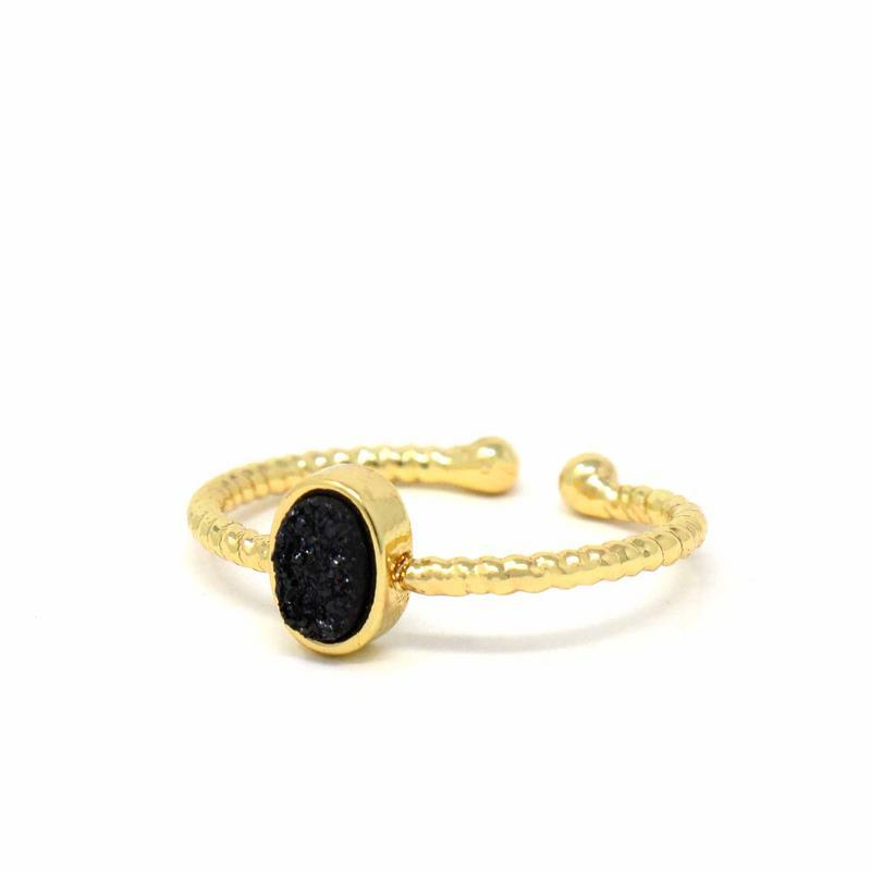Ring: Black Druzy Agate Stone - Starfish Project