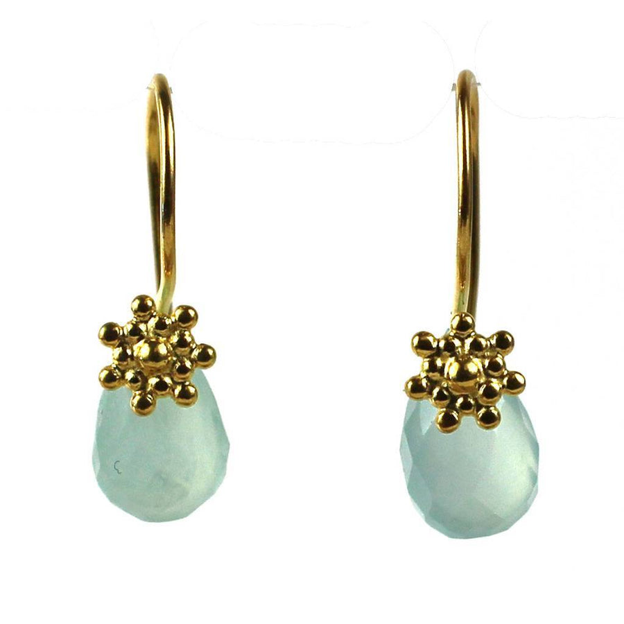 Gold Aqua Grotto Earring with Chalecedony Gem - DZI (Fair Trade)