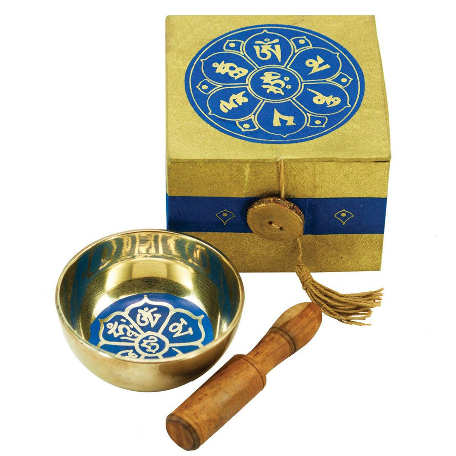 Meditation Bowl Box: 3'' Om Lotus - DZI (Fair Trade)