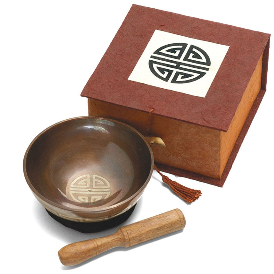 Meditation Bowl Box: 4'' Longevity - DZI (Fair Trade)