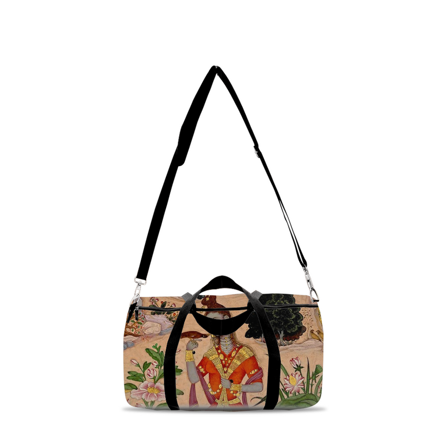 Yogini with a Mynah Bird Duffle Bags
