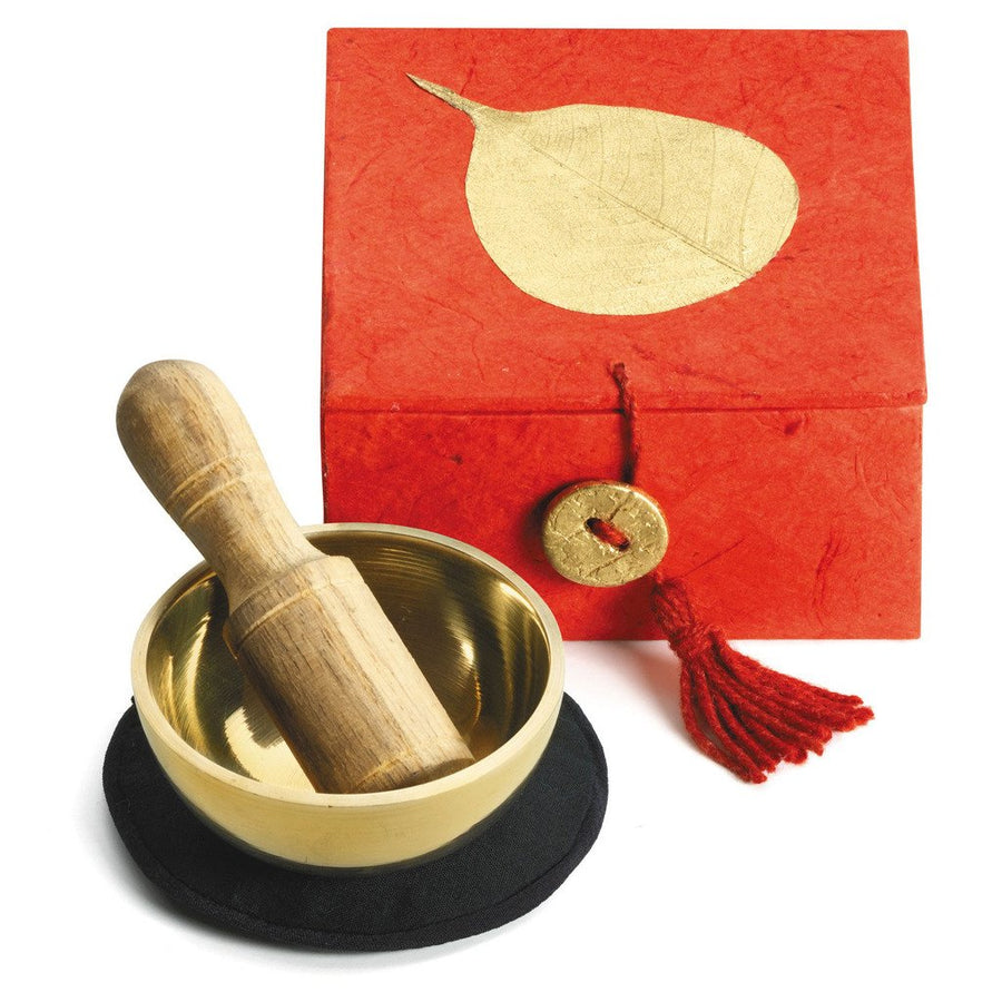 "Mini Meditation Bowl Box: 2"" Gold Bodhi - DZI (Fair Trade)"
