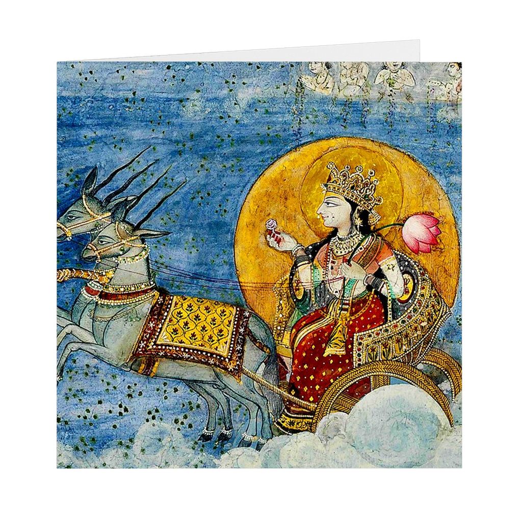 "Chandra (The Moon) and His Chariot - 5"" X 5"" Blank Greeting and Note Card"
