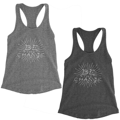 Be the Change Gandhi Quote Women's Racerback Tank Top