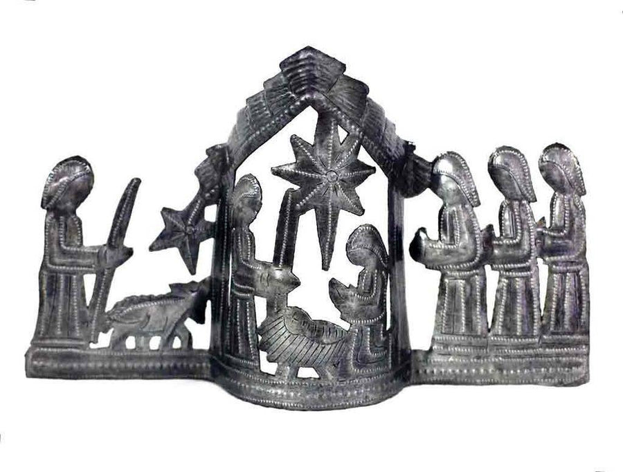 "Large Tabletop Nativity Scene (13"" x 7"") - Croix des Bouquets (Fair Trade)"