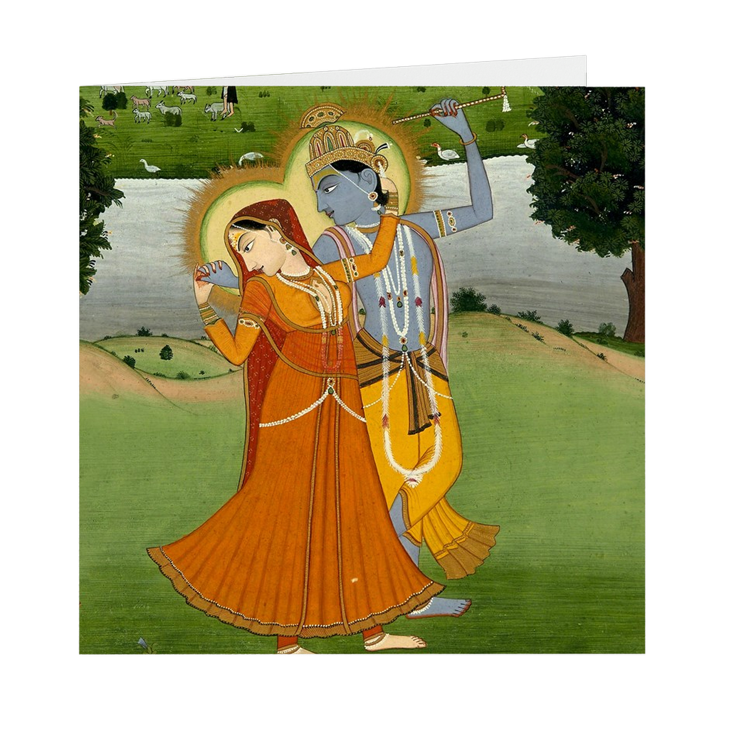 "Radha and Krishna Indian Painting - 5"" X 5"" Blank Greeting and Note Card"
