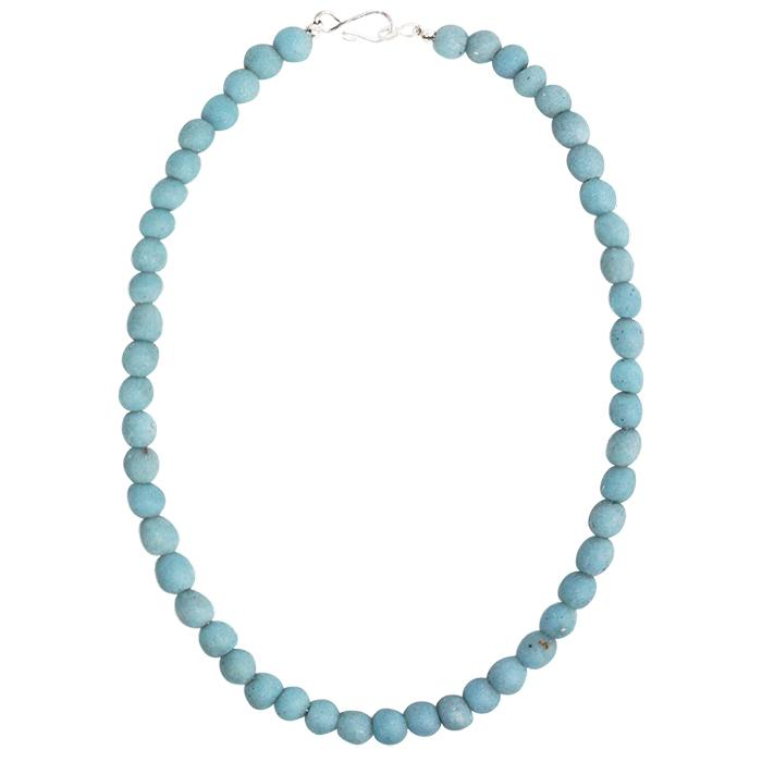 Global Mamas Glass Pearls Necklace - Light Blue - Global Mamas (Fair Trade)