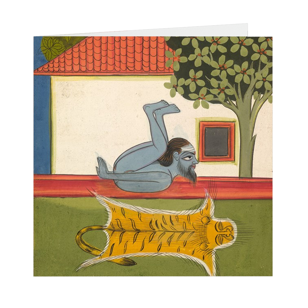 "Hatha Yoga Pradipika Yogi #6 Indian Painting - 5"" X 5"" Blank Greeting and Note Card"