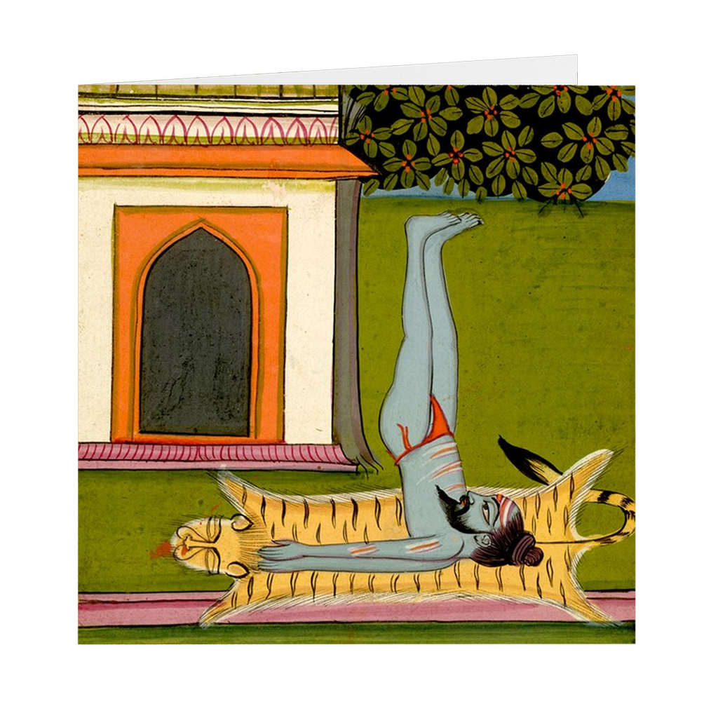 "Hatha Yoga Pradipika Yogi #3 Indian Painting - 5"" X 5"" Blank Greeting and Note Card"