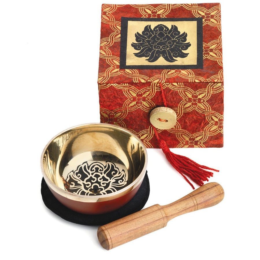 Meditation Bowl Box: 3'' Black Lotus - DZI (Fair Trade)