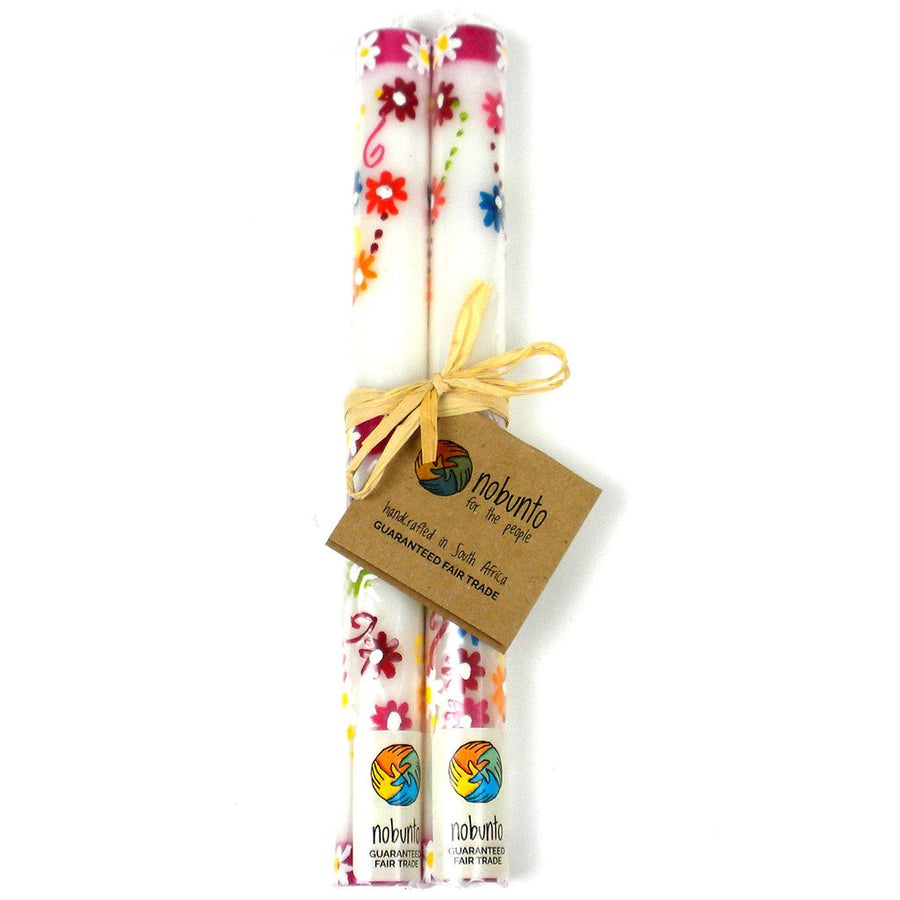 Tall Hand Painted Candles - Pair - Mamako Design - Nobunto (Fair Trade)