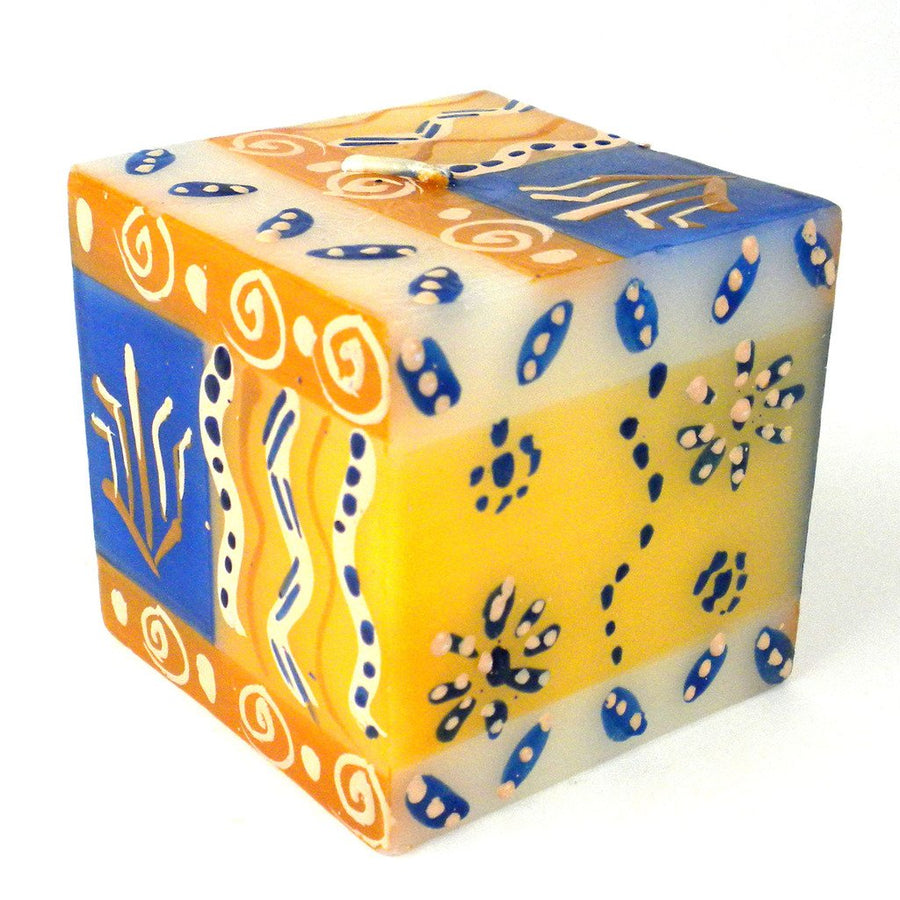 Hand Painted Candle - Cube - Durra Design - Nobunto (Fair Trade)