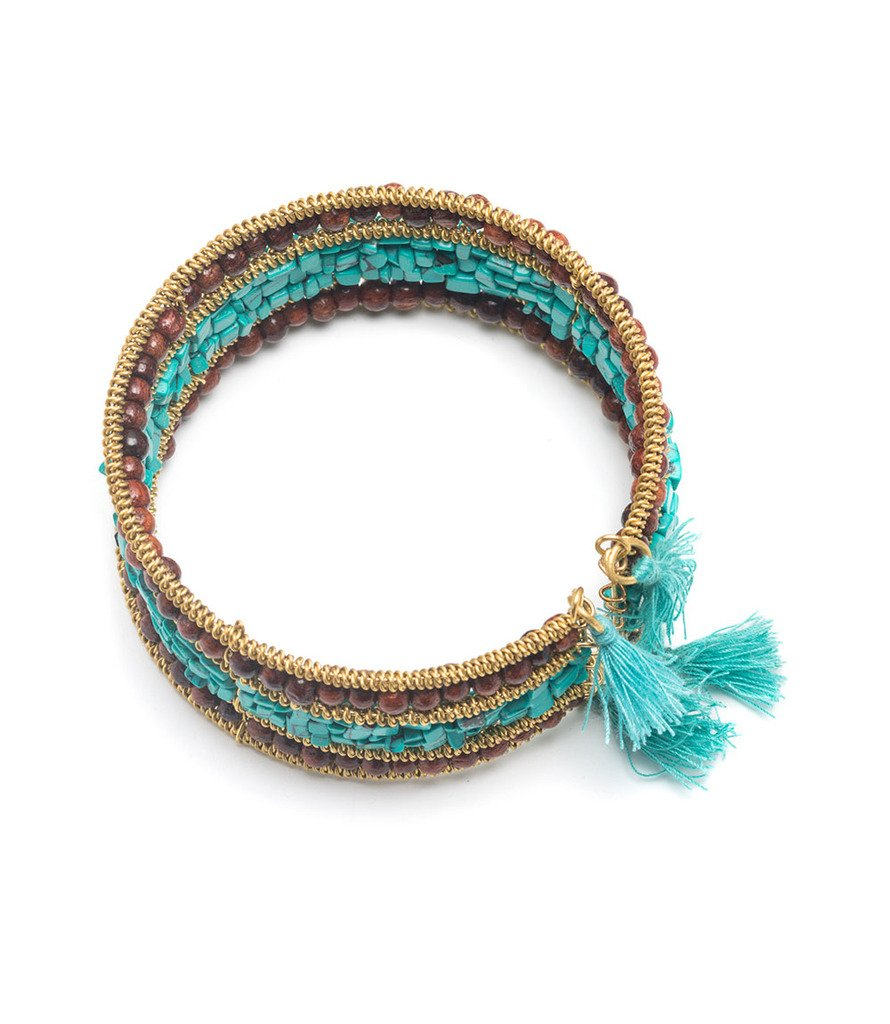 Shanthi Cuff - Turquoise and Wood - Bracelet - Matr Boomie (Fair Trade)