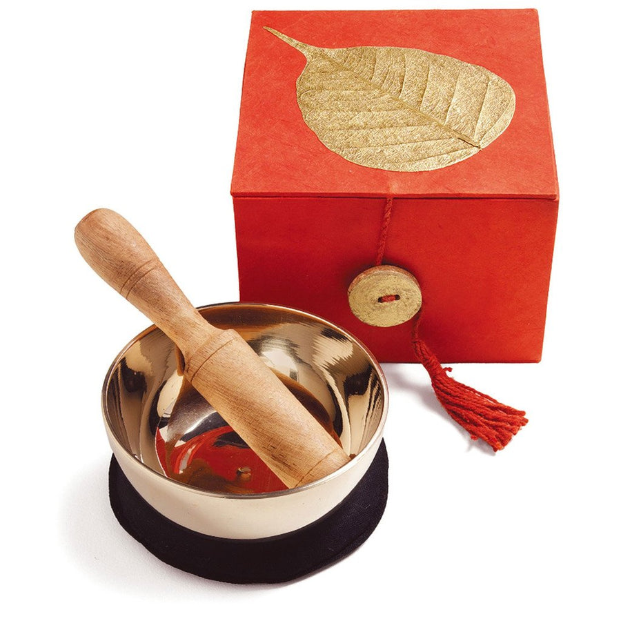 Meditation Bowl Box: 3'' Gold Bodhi - DZI (Fair Trade)