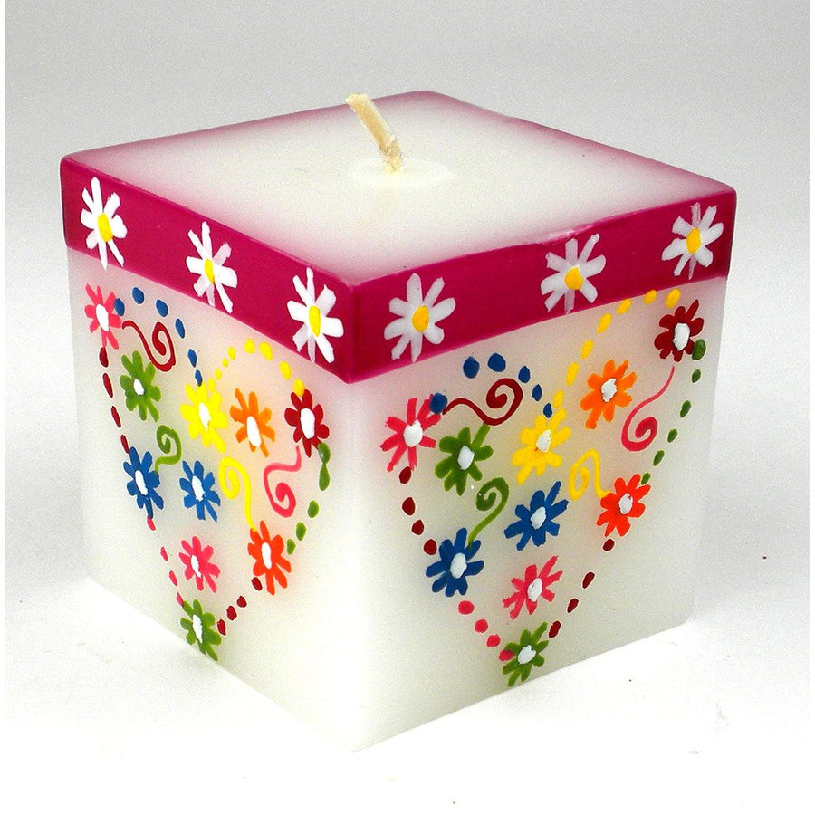 Hand Painted Candle - Cube - Mamako Design - Nobunto (Fair Trade)