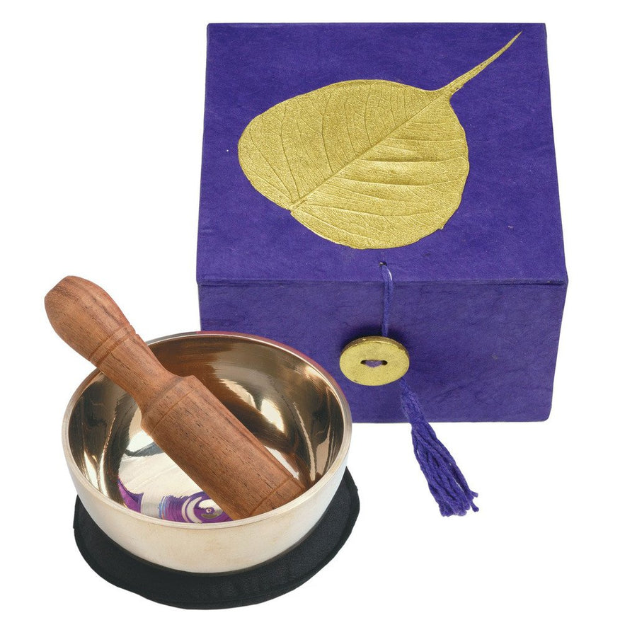 Meditation Bowl Box: 3'' Gold Bodhi, Purple - DZI (Fair Trade)