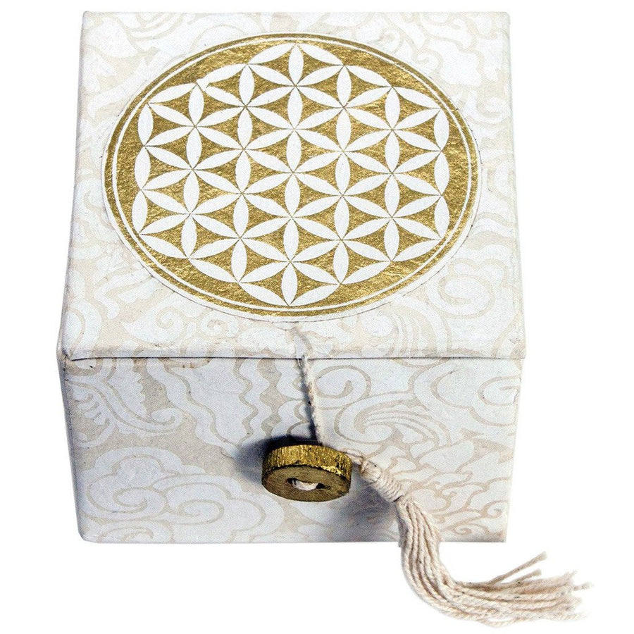 Meditation Bowl Box: 3'' Flower Of Life - DZI (Fair Trade)
