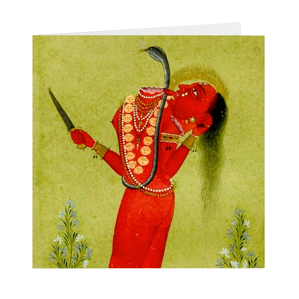 "Tantric Goddess Chinnamasta Indian Painting - 5"" X 5"" Blank Greeting and Note Card"