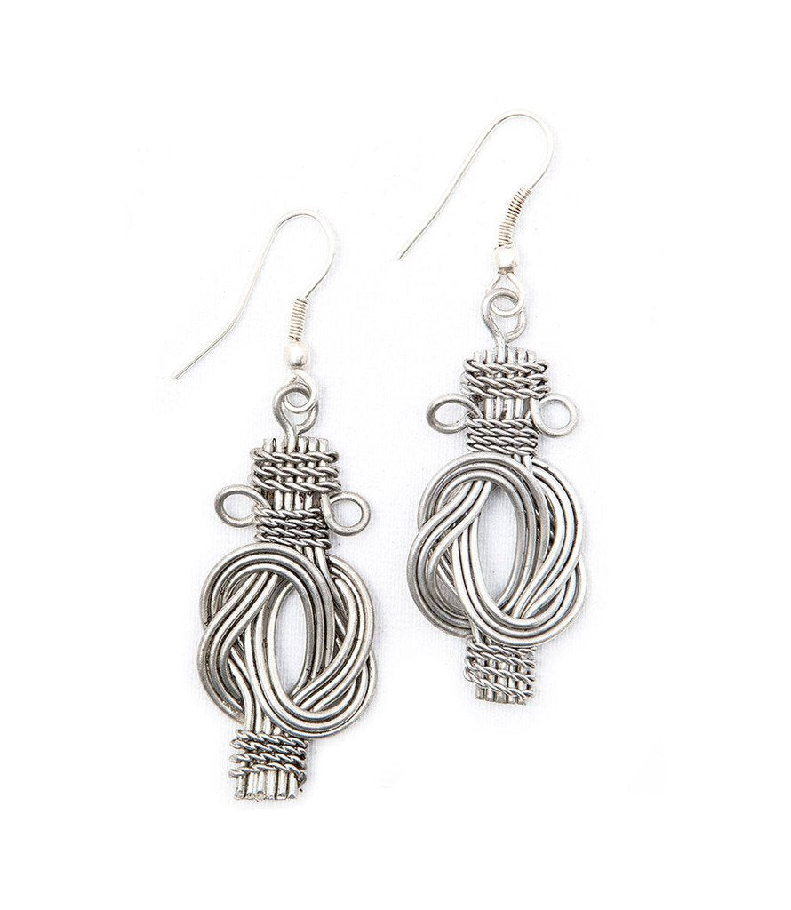 Buddha Knot Earrings - Silvertone - Matr Boomie (Fair Trade)