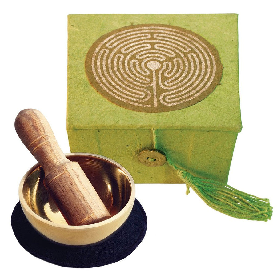 "Mini Meditation Bowl Box: 2"" Labyrinth - DZI (Fair Trade)"