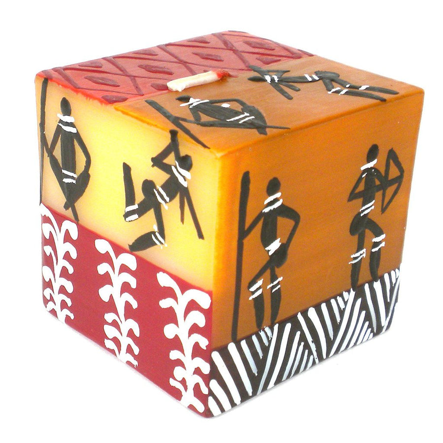 Hand Painted Candle - Cube - Damsi Design - Nobunto (Fair Trade)