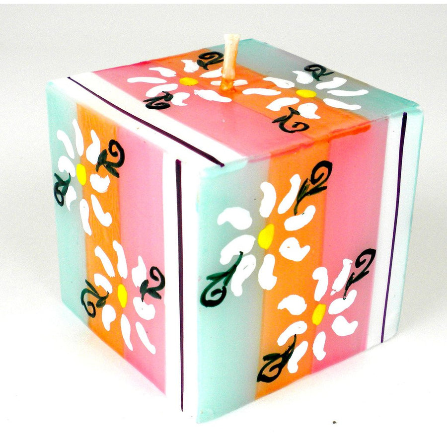 Hand Painted Candle - Cube - Imbali Design - Nobunto (Fair Trade)