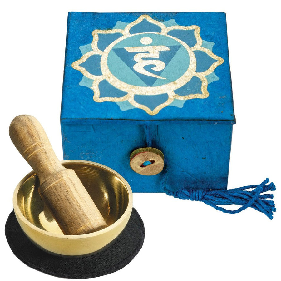 "Mini Meditation Bowl Box: 2"" Throat Chakra - DZI (Fair Trade)"
