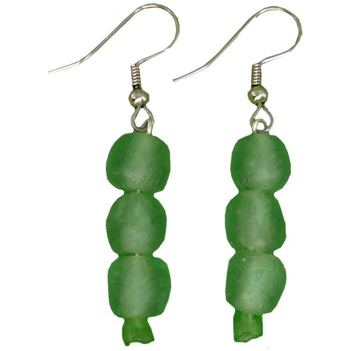 Global Mamas Glass Pearls Earrings Moss - Global Mamas (Fair Trade)