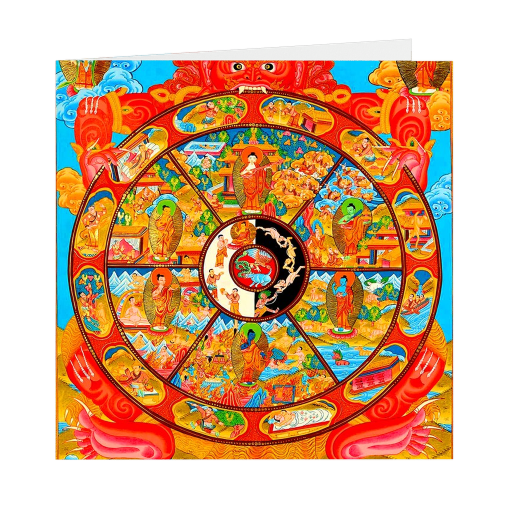 "Bhavachakra - The Wheel of Life - 5"" X 5"" Blank Greeting and Note Card"
