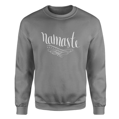 Namaste Calligraphy #2 Adult Crewneck Sweatshirt - White Design