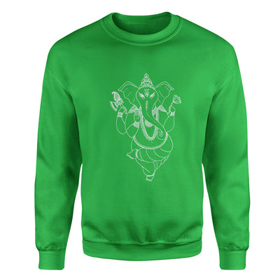 Ganesh Remover of Obstacles #2 Adult Crewneck Restaurant - White Design
