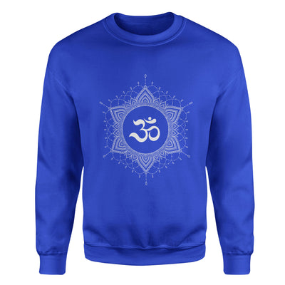 OM Mandala #6 Adult Crewneck Sweatshirt - White Design