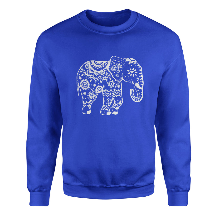 Tribal Elephant #1 Adult Crewneck Sweatshirt - White Design